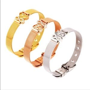 Jewelry - Stainless steel mesh buckle charm bracelet